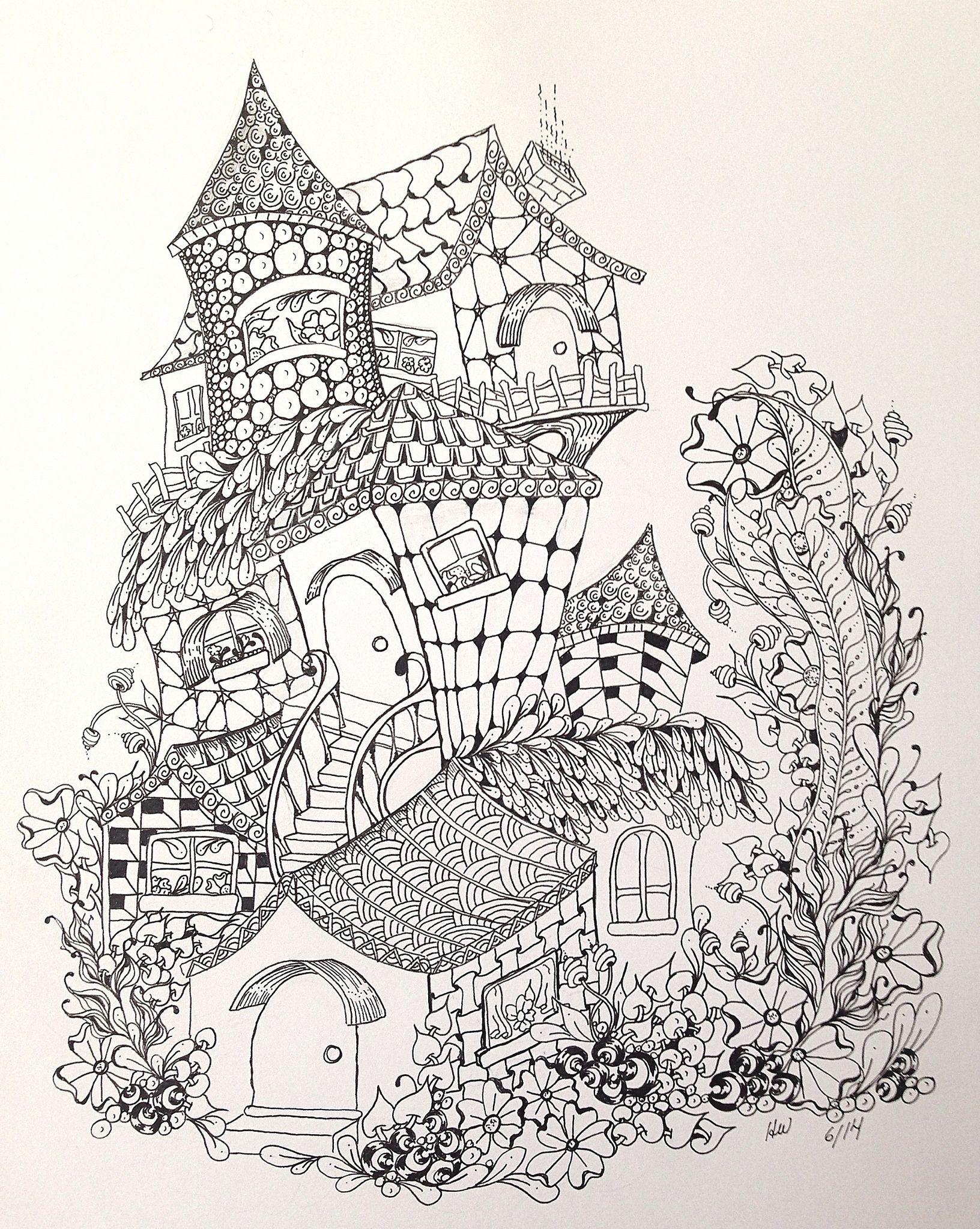 Zentangleinspired fairy houses Fairy houses, Zentangle