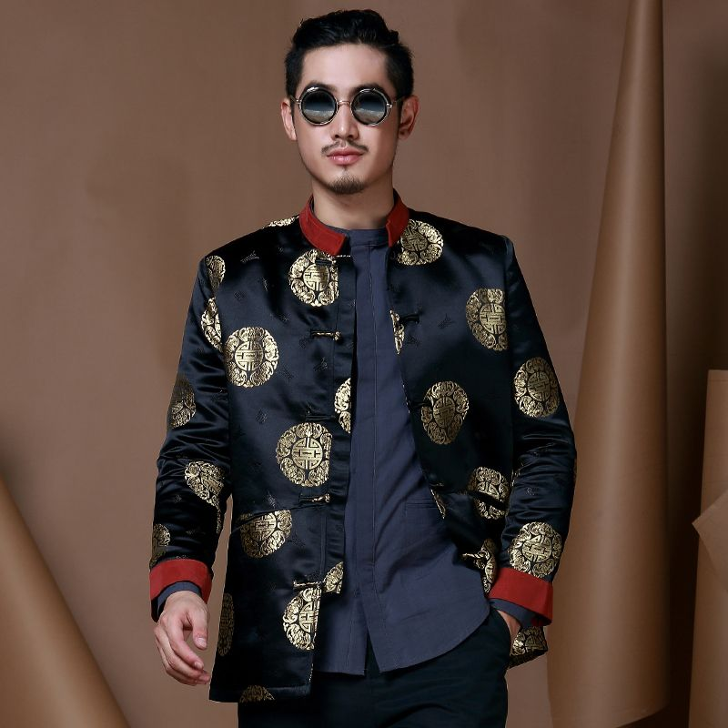 Excellent Brocade Chinese Tang Jacket Dark Blue