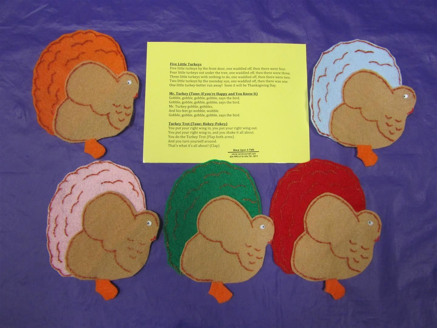 Five Little Turkeys Felt Book Story