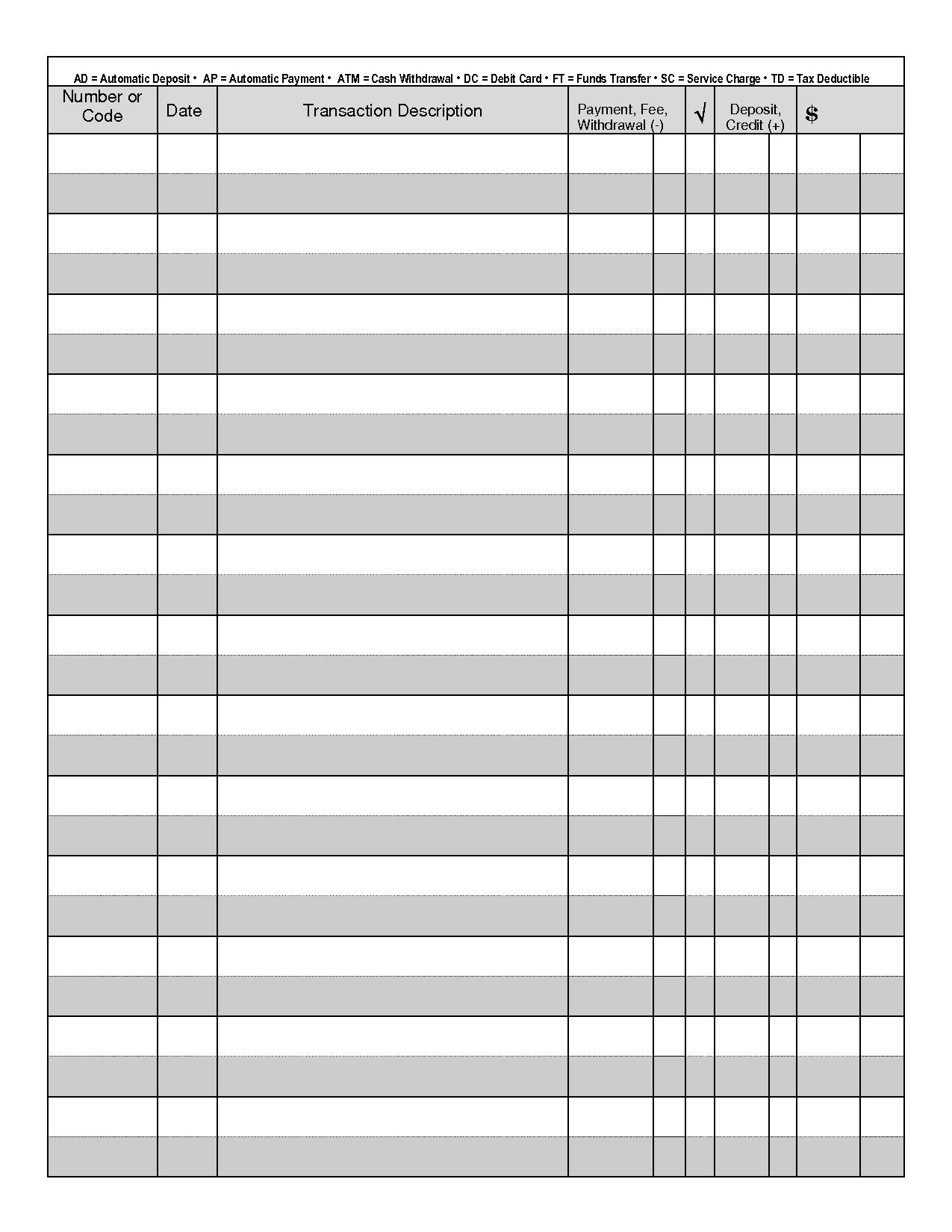 Printable Blank Check Register Template