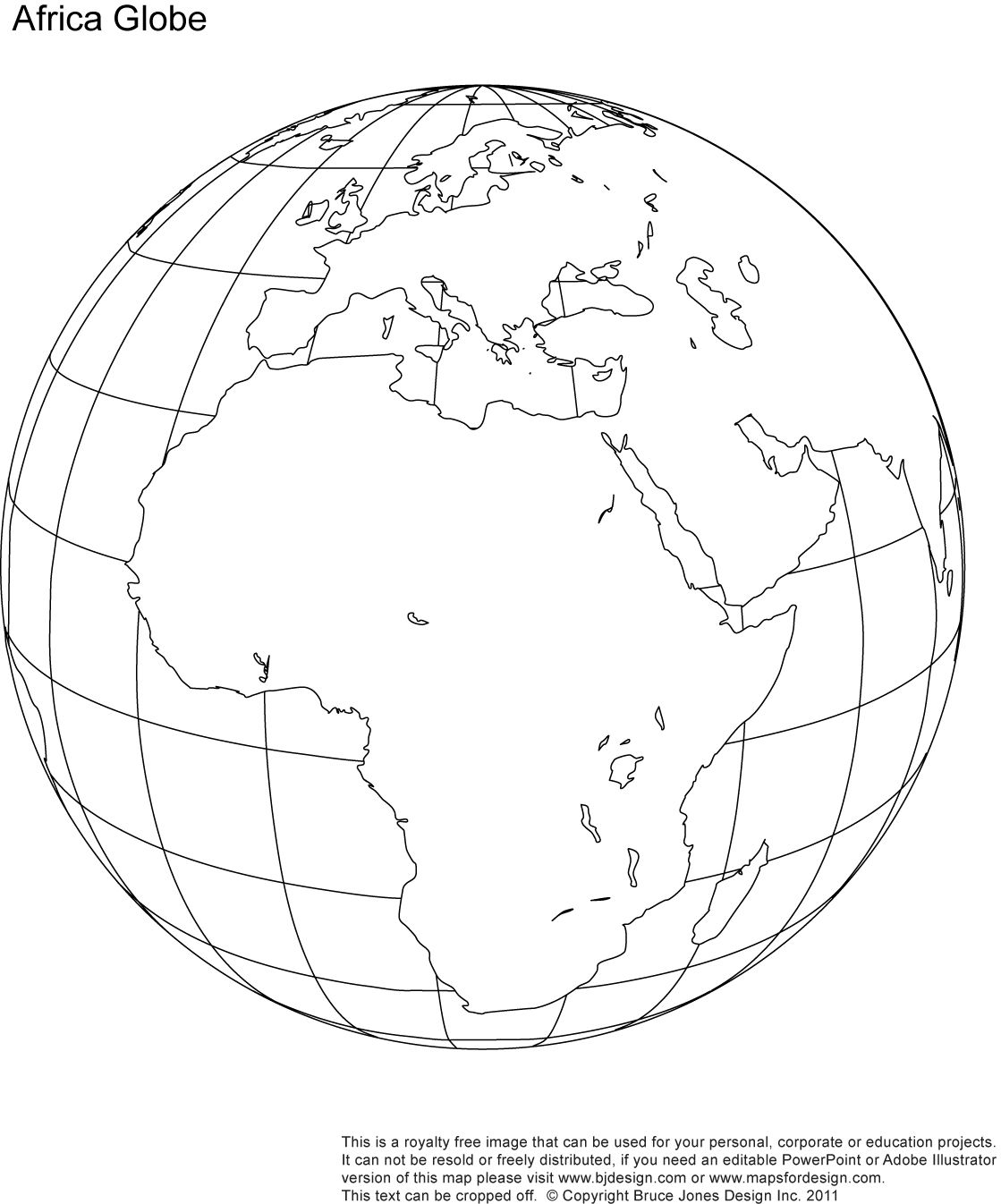 Africa Middle East Globe Map Printable Blank Outlne