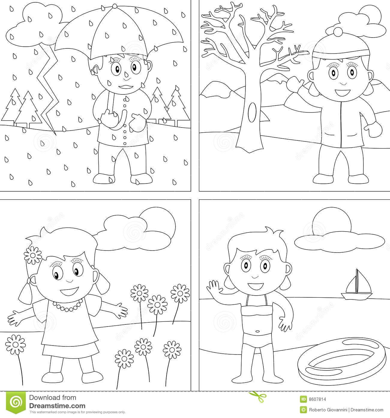 Printable Seasons Coloring Pictures With Seasons Coloring