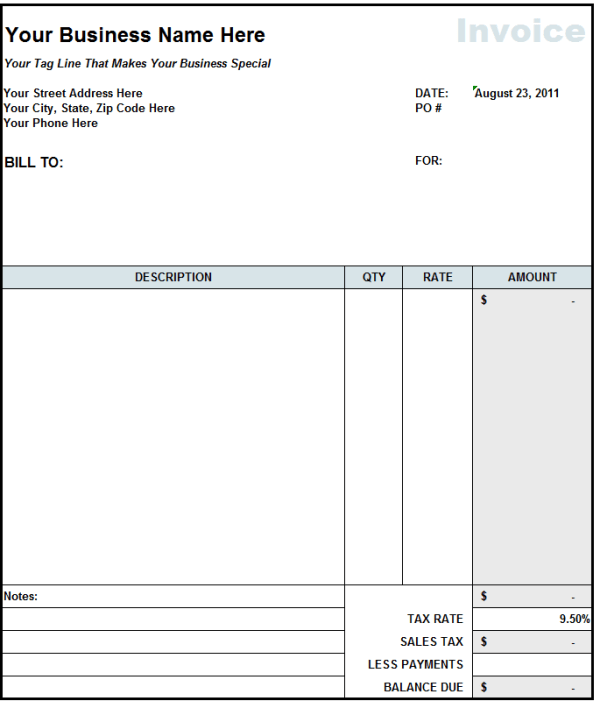 free invoice templates for word excel open office invoiceberry – Work Invoice Template Free