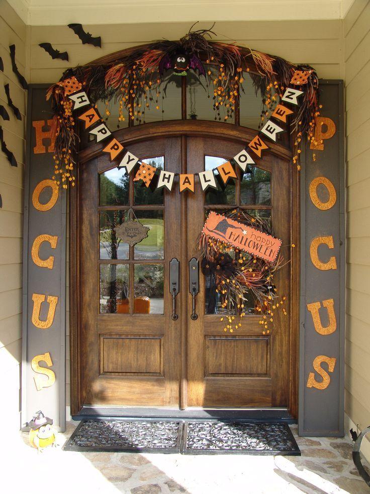 Halloween decorations front entry door with cute hocus