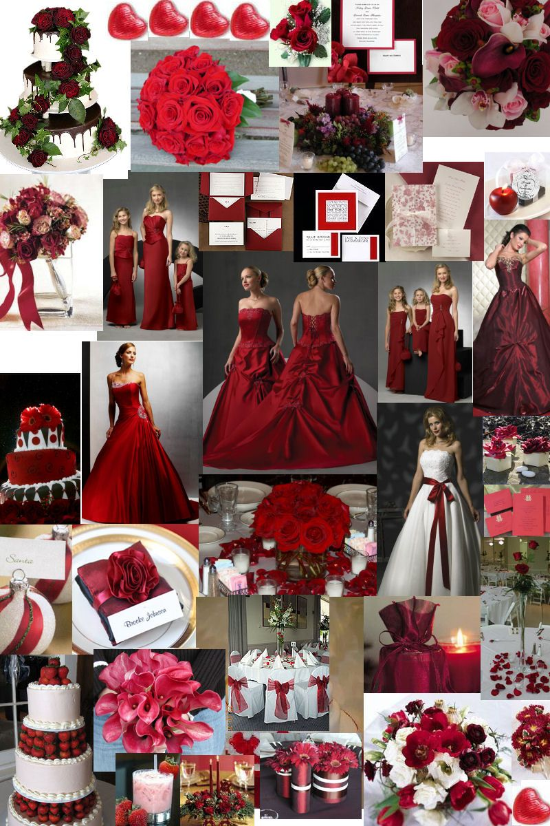 Winter wedding theme burgundy Dark red bridesmaid