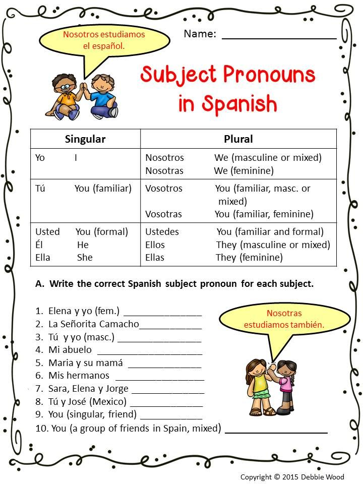 Spanish Subject Pronouns Spanish, Worksheets and Pronoun