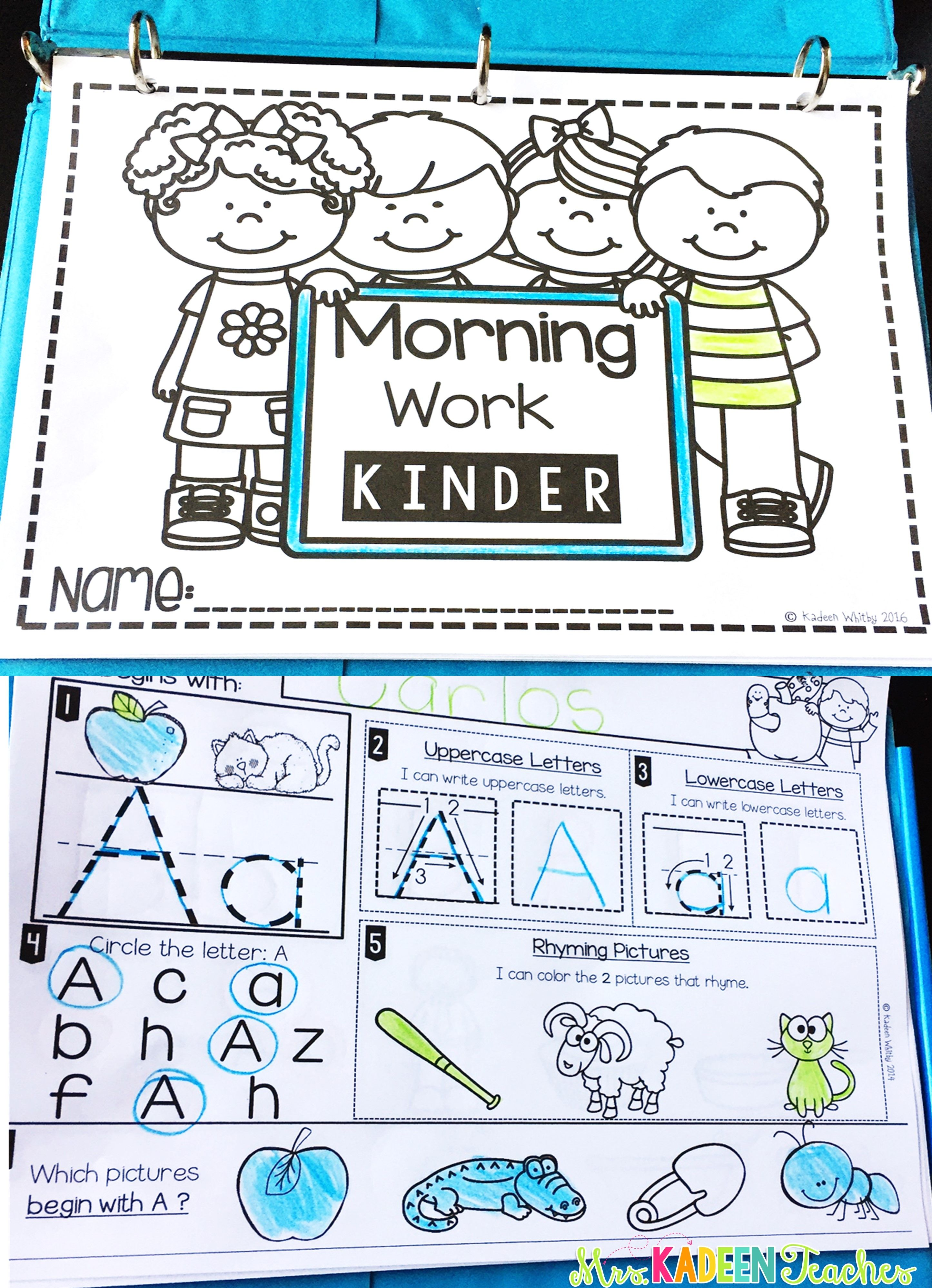 Kindergarten Morning Work August