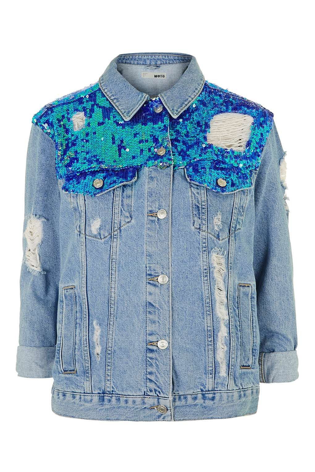 MOTO Sequin Ripped Jacket Sequins, and Denim jackets