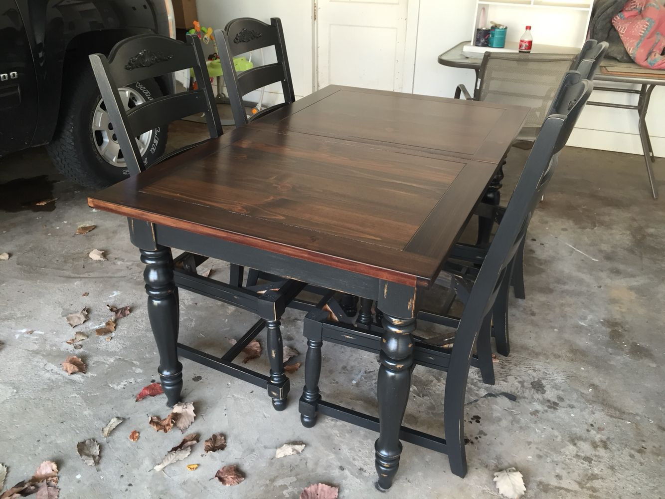 Refinished oak table, base and chairs chalk painted Black