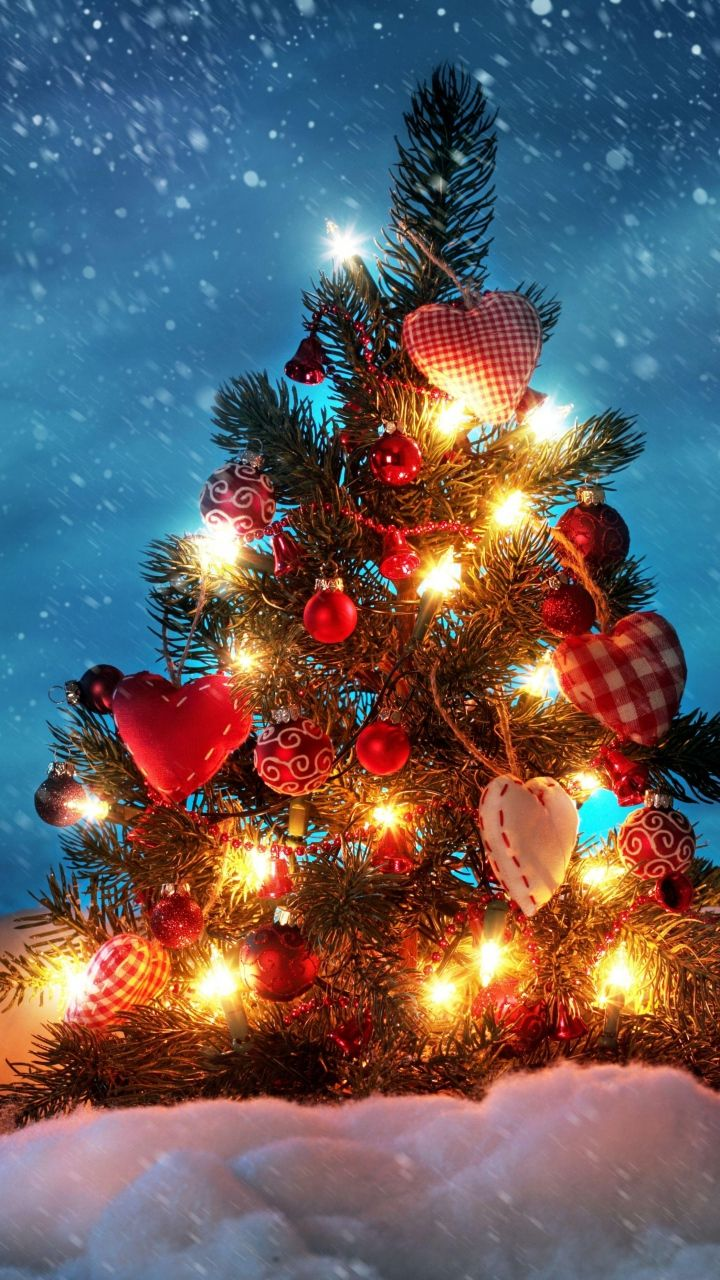 Download Wallpaper 720x1280 Tree, New year, Christmas