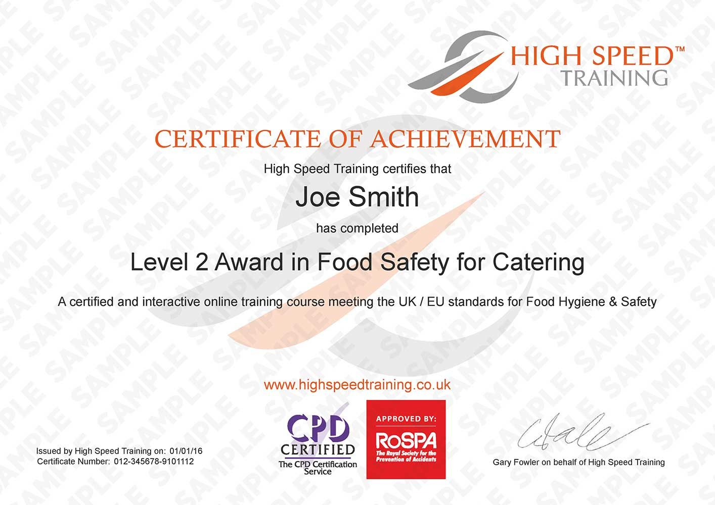 Level 2 Food Hygiene for Catering Example Certificate