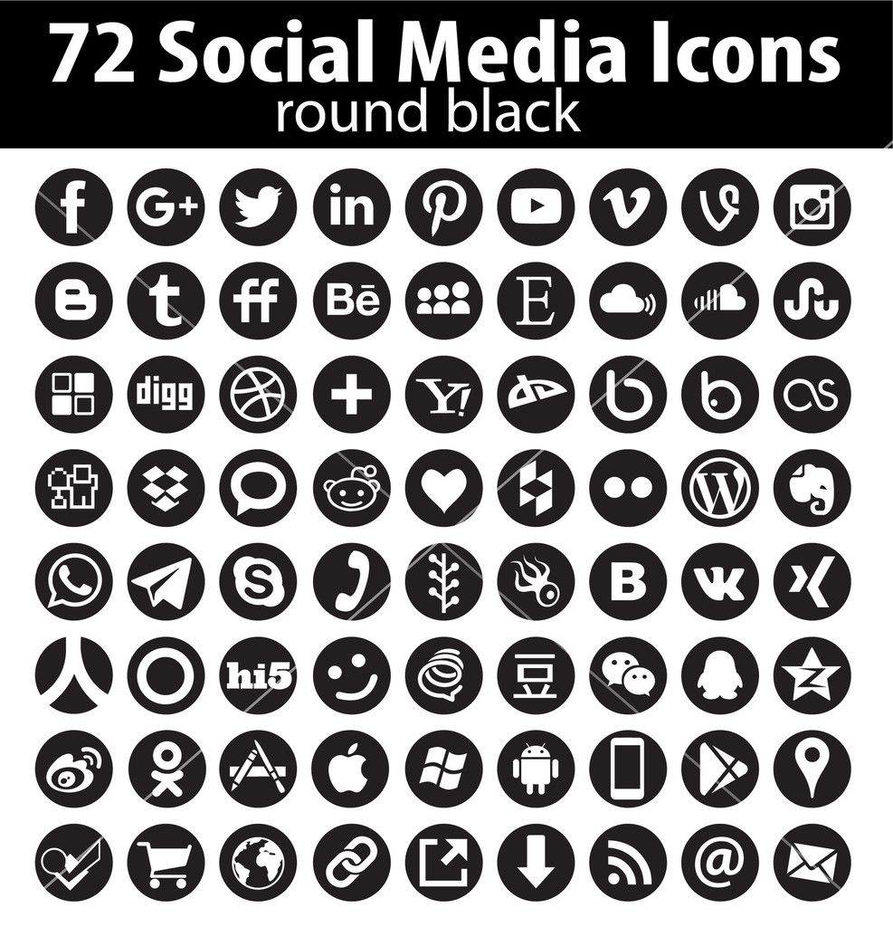 dadartdesign 72 Vector Round Social Media Icons vector