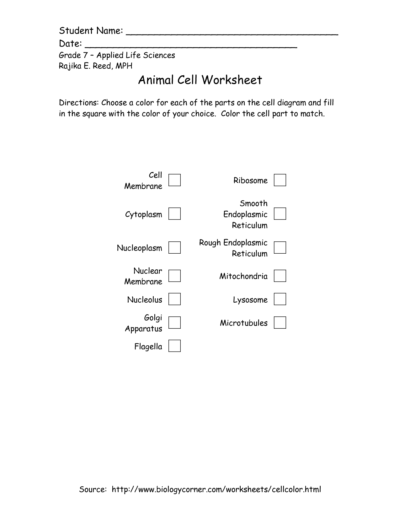 7th Grade Printable Plant And Animal Cell