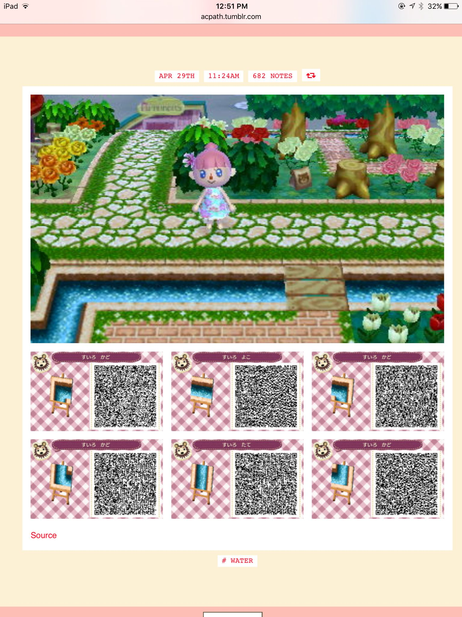 Water essential pieces Acnl QR code paths Pinterest
