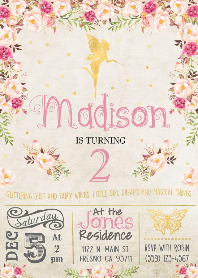 Fairy birthday invitation invite pink and gold watercolor