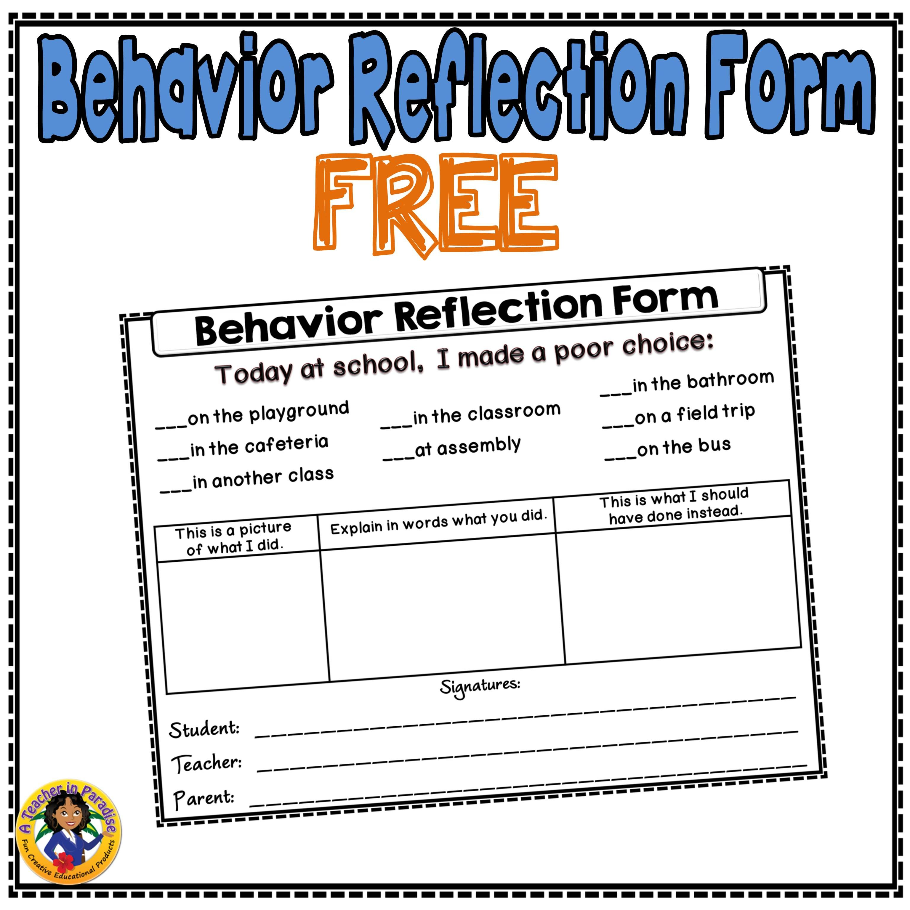 A Simple Behavior Reflection Form I Use With My Students