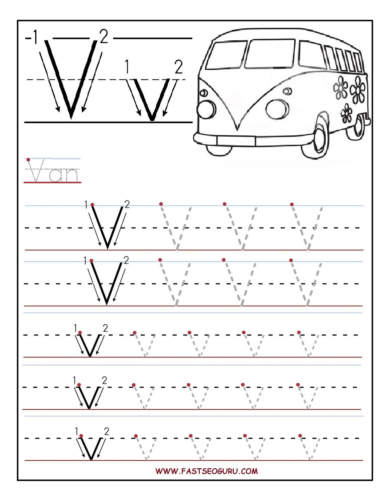 Printable Letter V Tracing Worksheets For Preschool