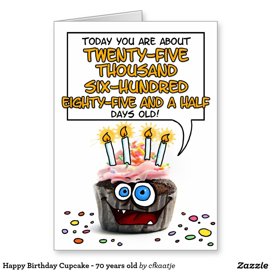 Happy Birthday Cupcake 70 years old Card convites 70