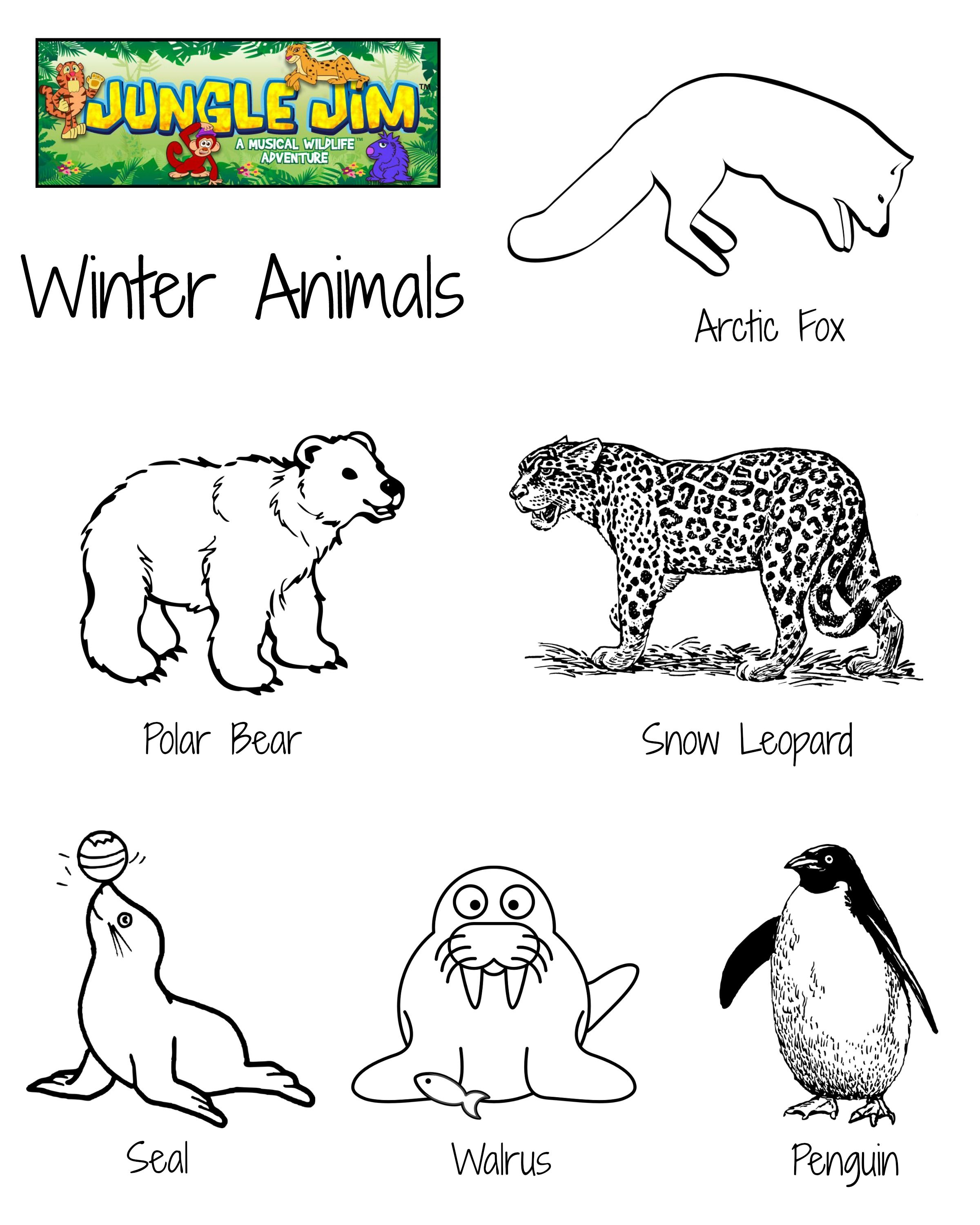 Winter Animal Free Printable Coloring Page With Lots Of Cute Winter Animals Junglejim Winter