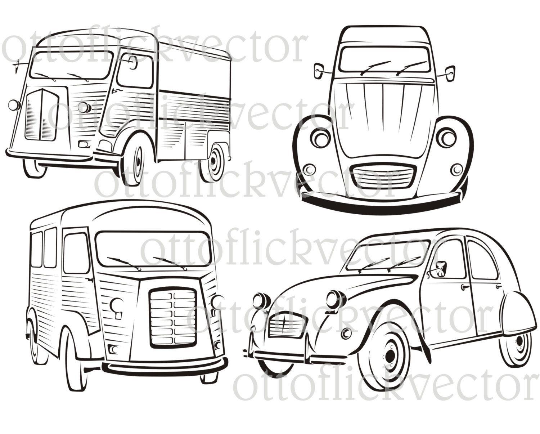 Vintage Cars Vector Clipart Old Car Silhouettes Eos Ai