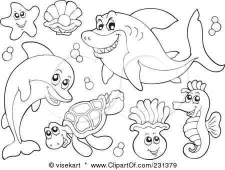 ocean animals coloring pages aductk