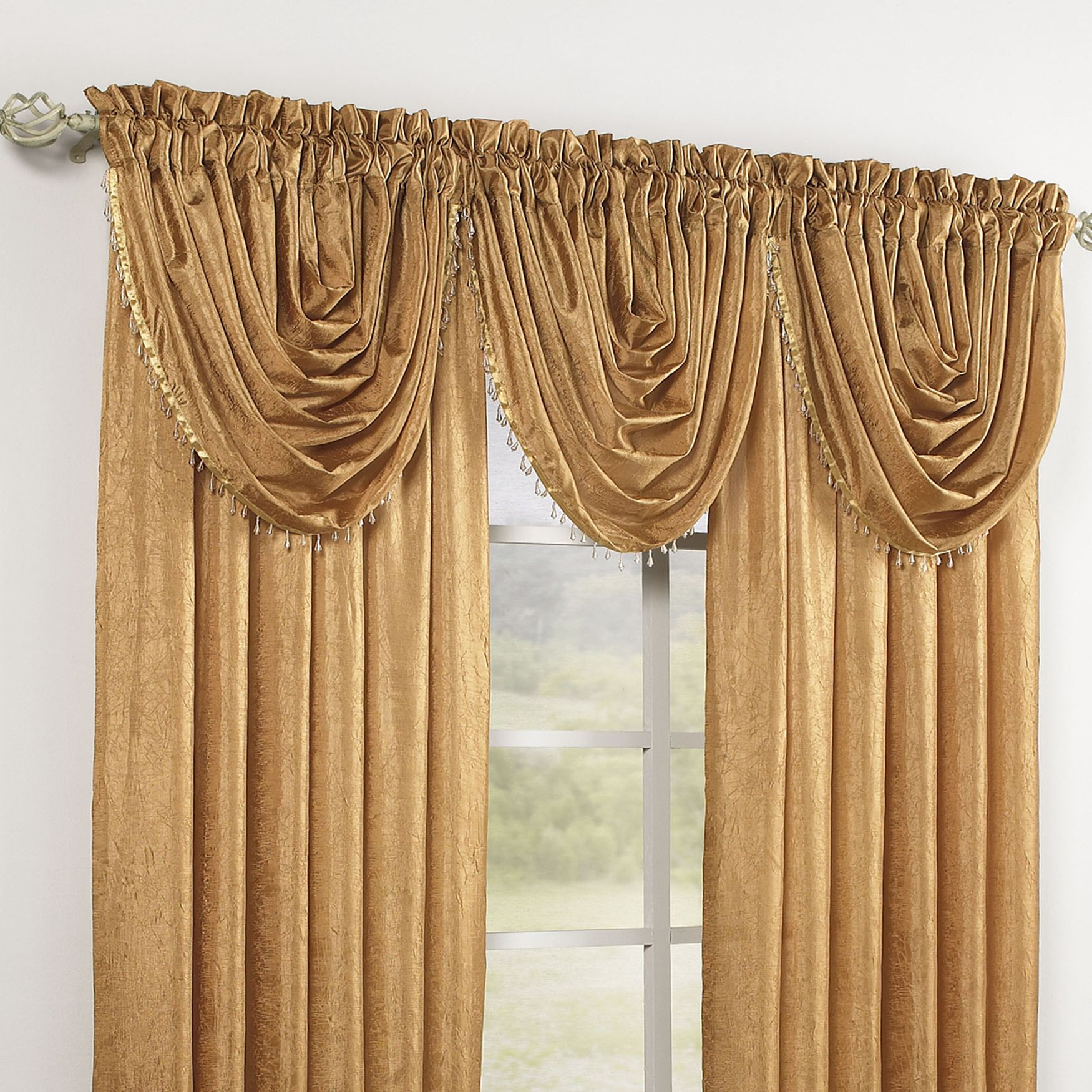 Crushed Taffeta Beaded Waterfall Valance Amp Rod Pocket