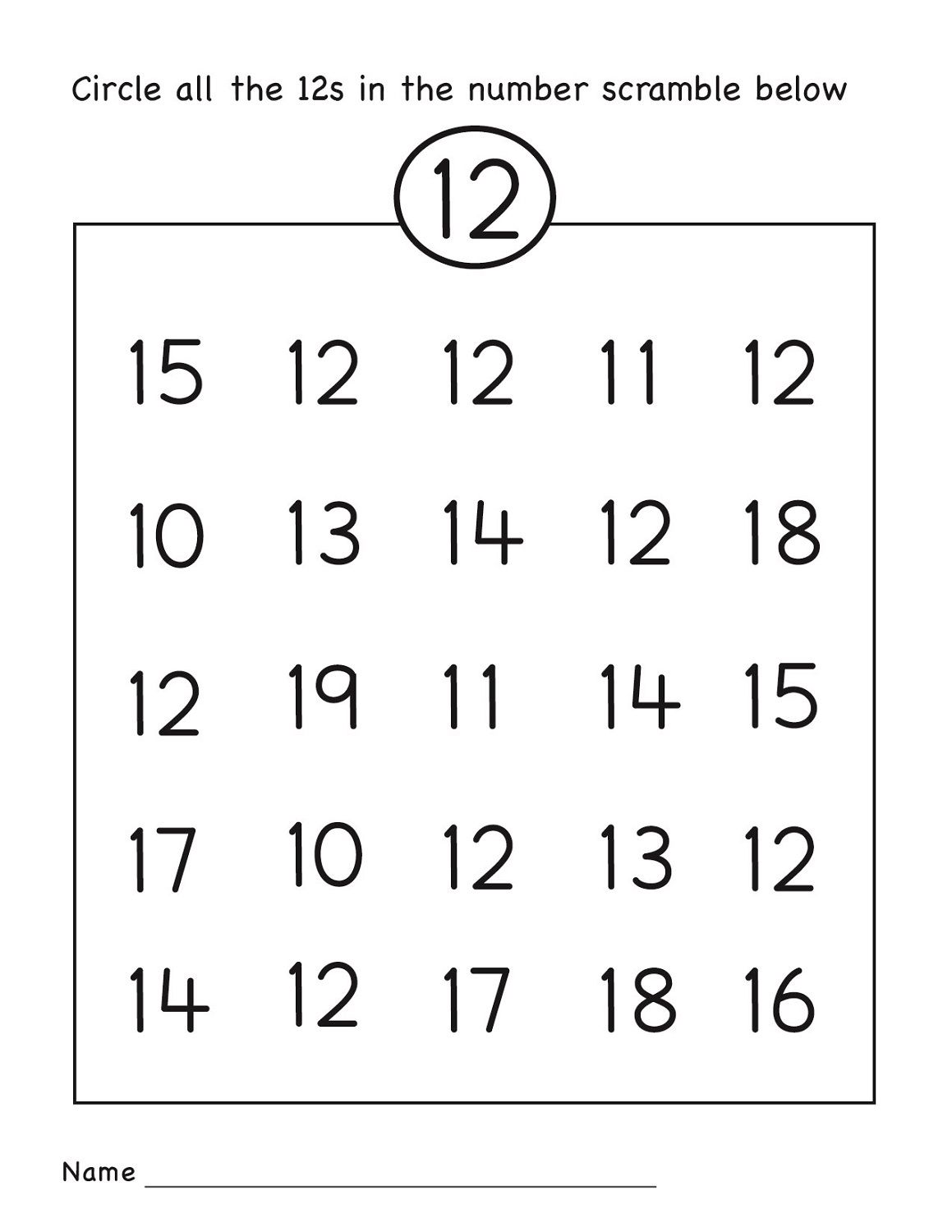 Number 12 Worksheet Circle