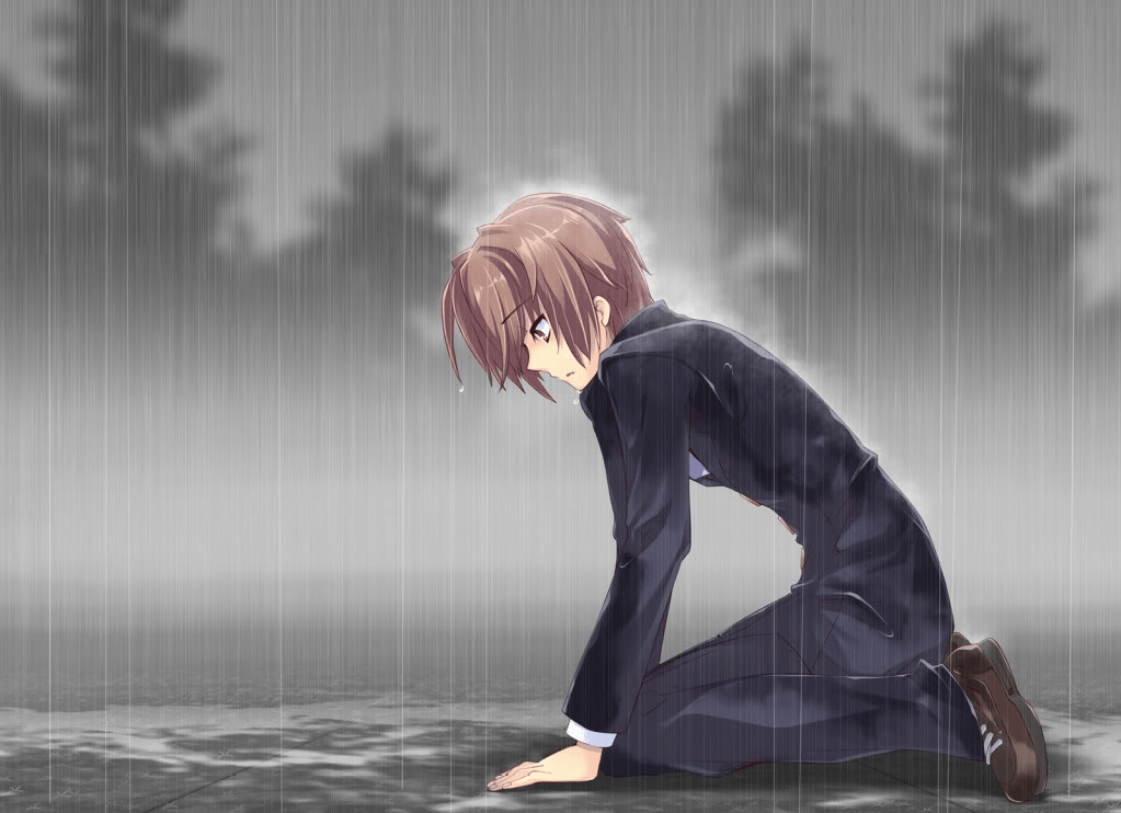 Sad Anime Boy Alone Sad Anime Boy in Rain Sad Anime