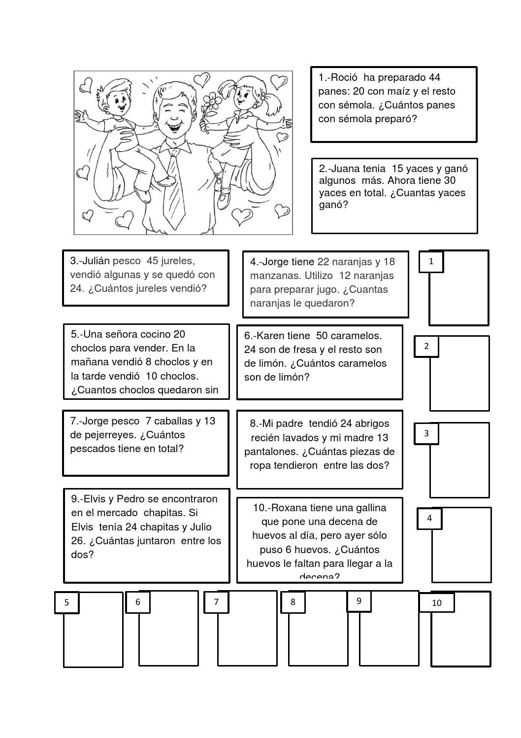 Ficha De Aplicacion De Problemas Matematicos Para Alumnos