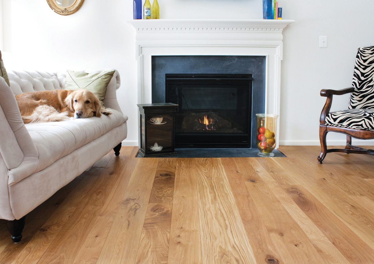 Character White Oak Flooring with Clear Finish Living