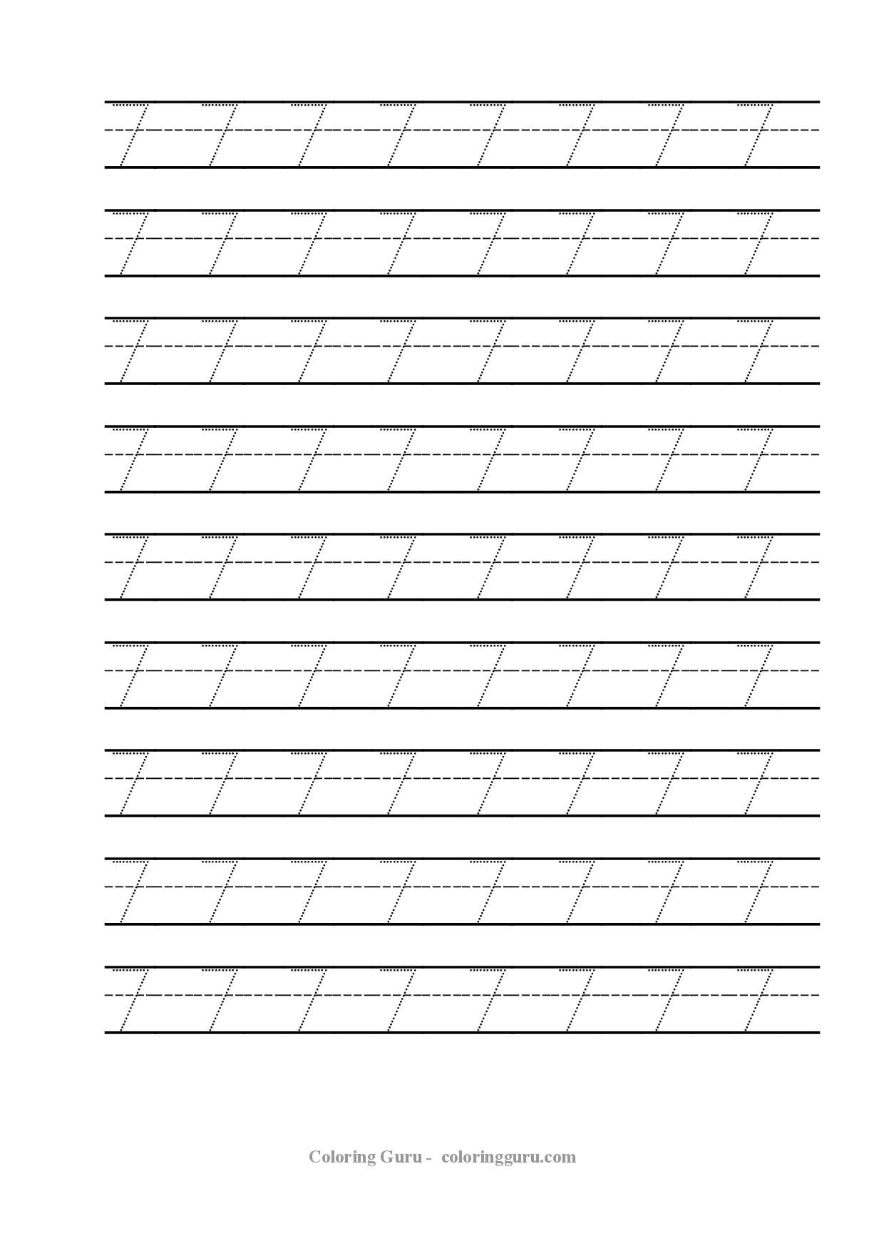 Free Printable Tracing Number 7 Worksheets Coloring Pages For Kids
