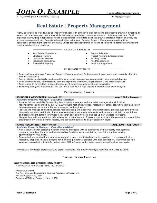 Property Management Resume Keywords - Resume Sample