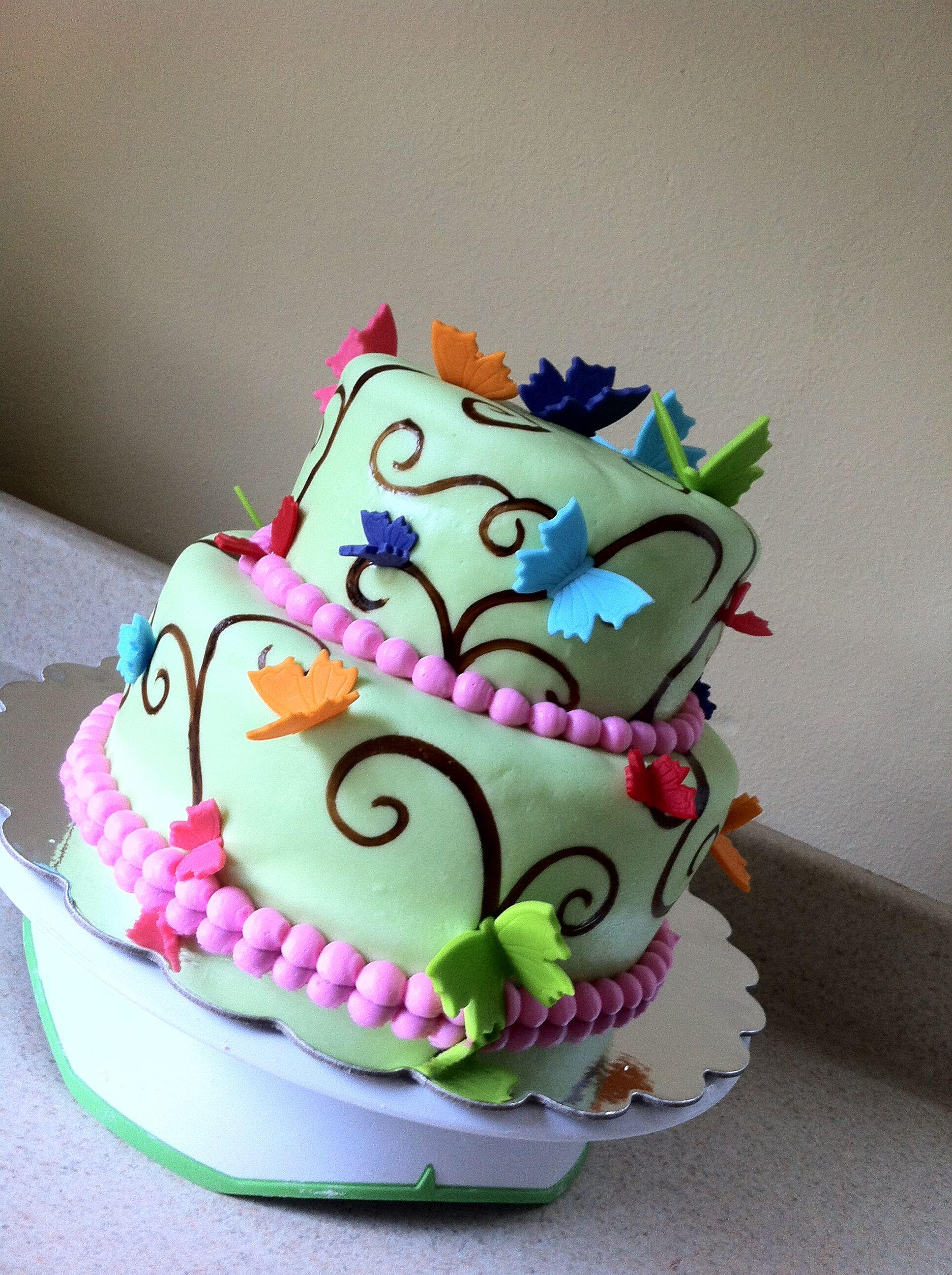 Rainbow butterfly birthday cake Vanessa's Baby Shower