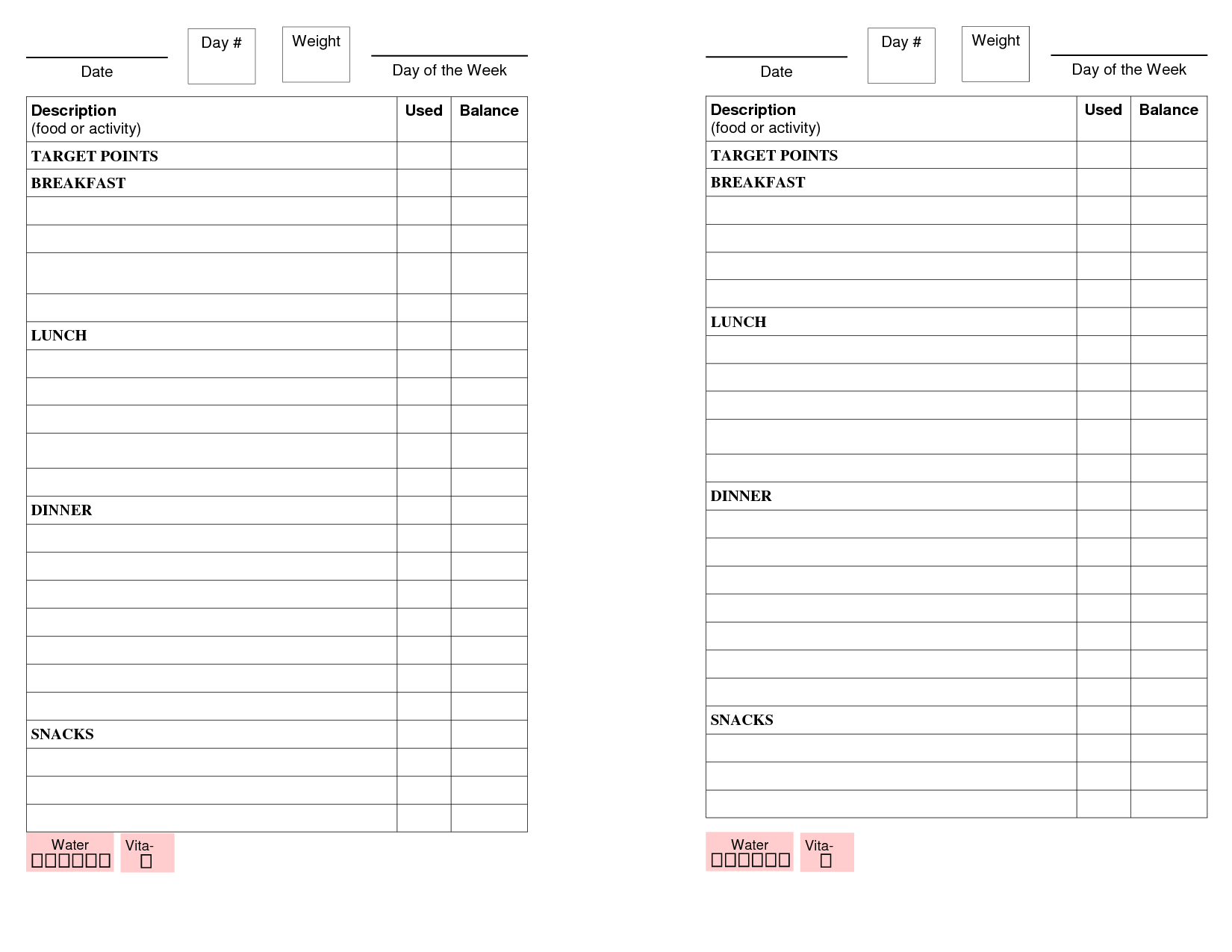 Printable Weight Watchers Point Book