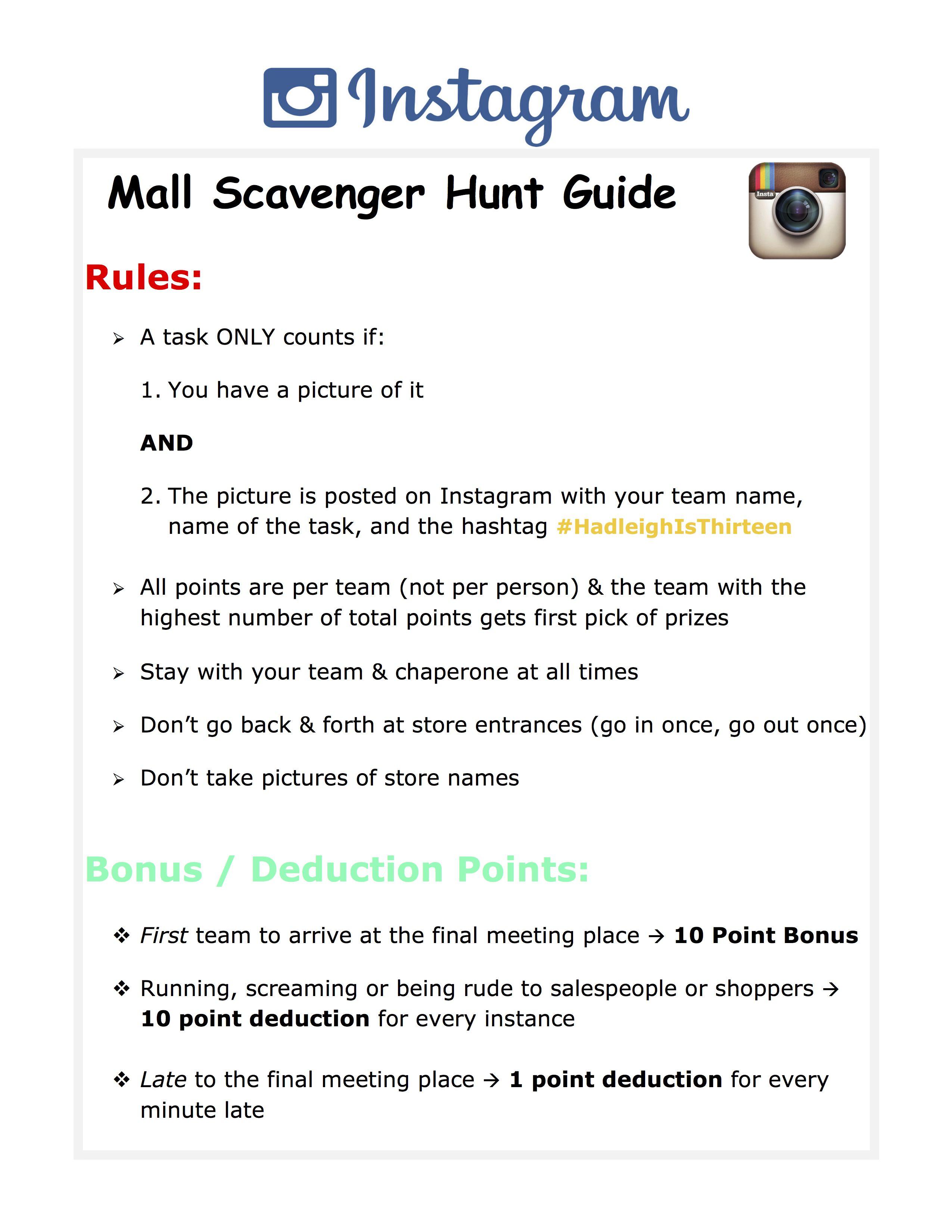 Mall Scavenger Hunt Guide Rules scavengerhunt