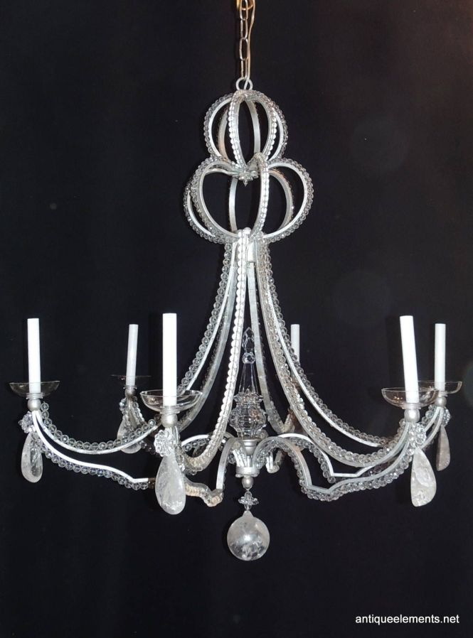 Vintage Modern Niermann Weeks Six Light Beaded Rock Crystal Bagues Chandelier
