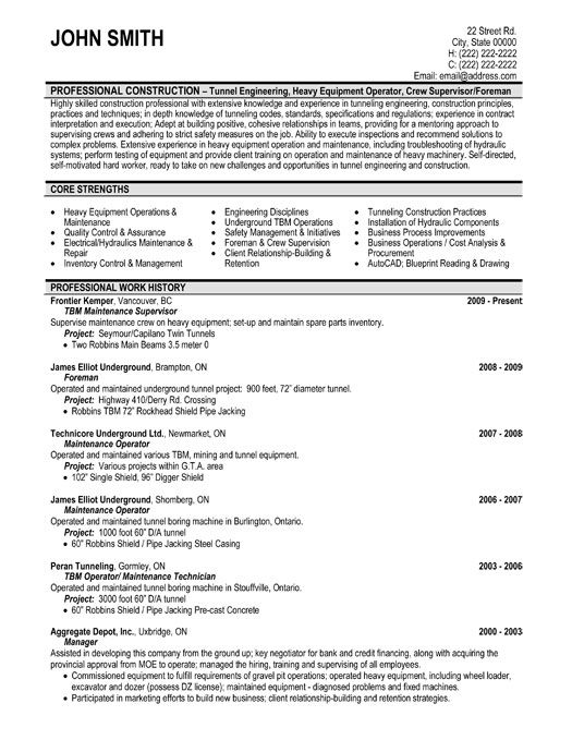 resume for maintenance supervisor template
