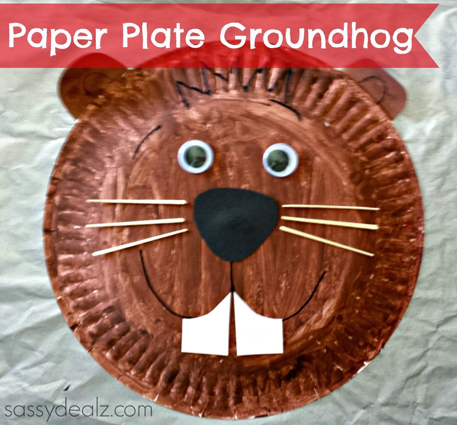 Groundhog Paper Plate Craft For Kids Groundhogs Day Art