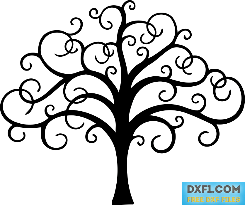 Tree with twisted branches file for cutting FREE DXF