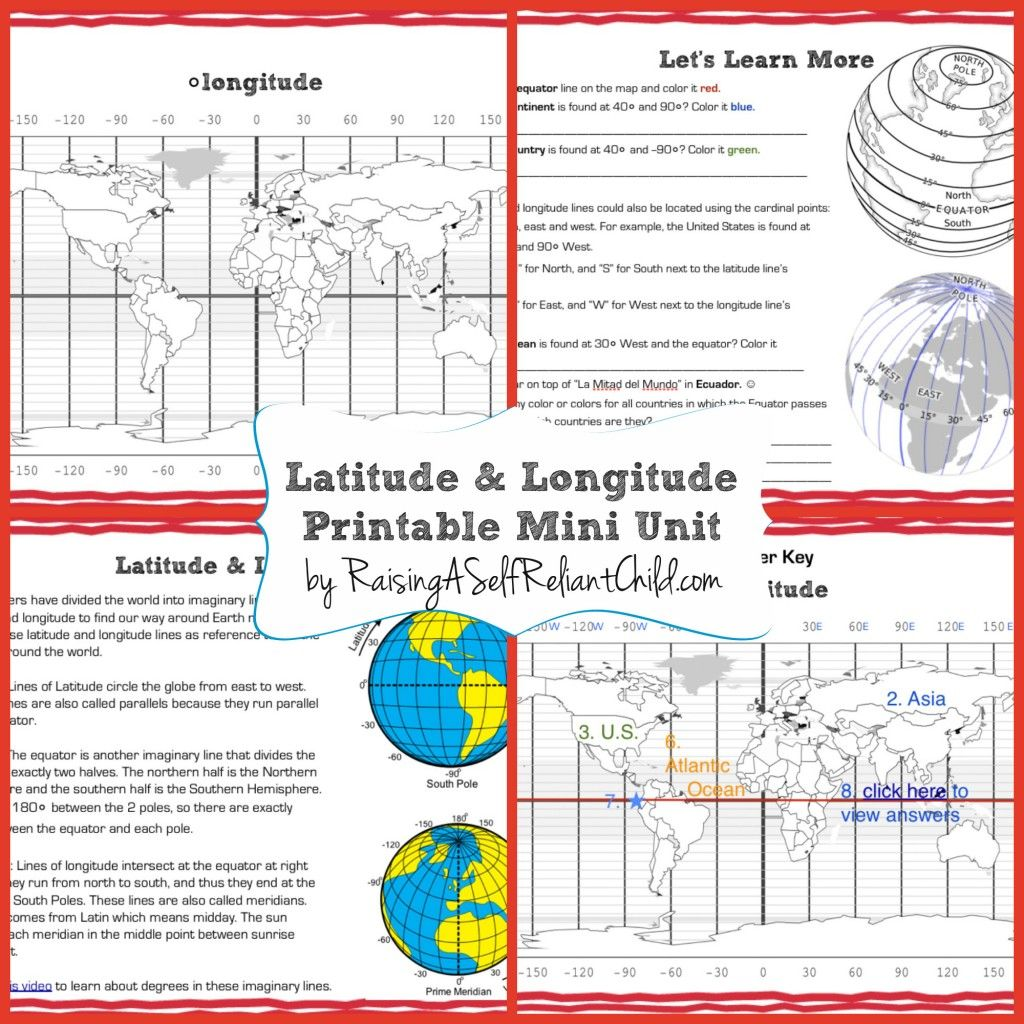 Get This Free Printable Mini Unit On Latitude And