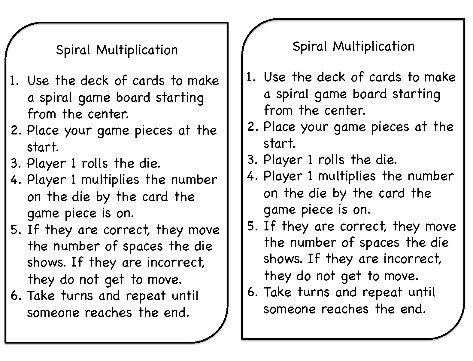 Mrs Patton S Patch Spiral Multiplication A Favorite Game Of The Year