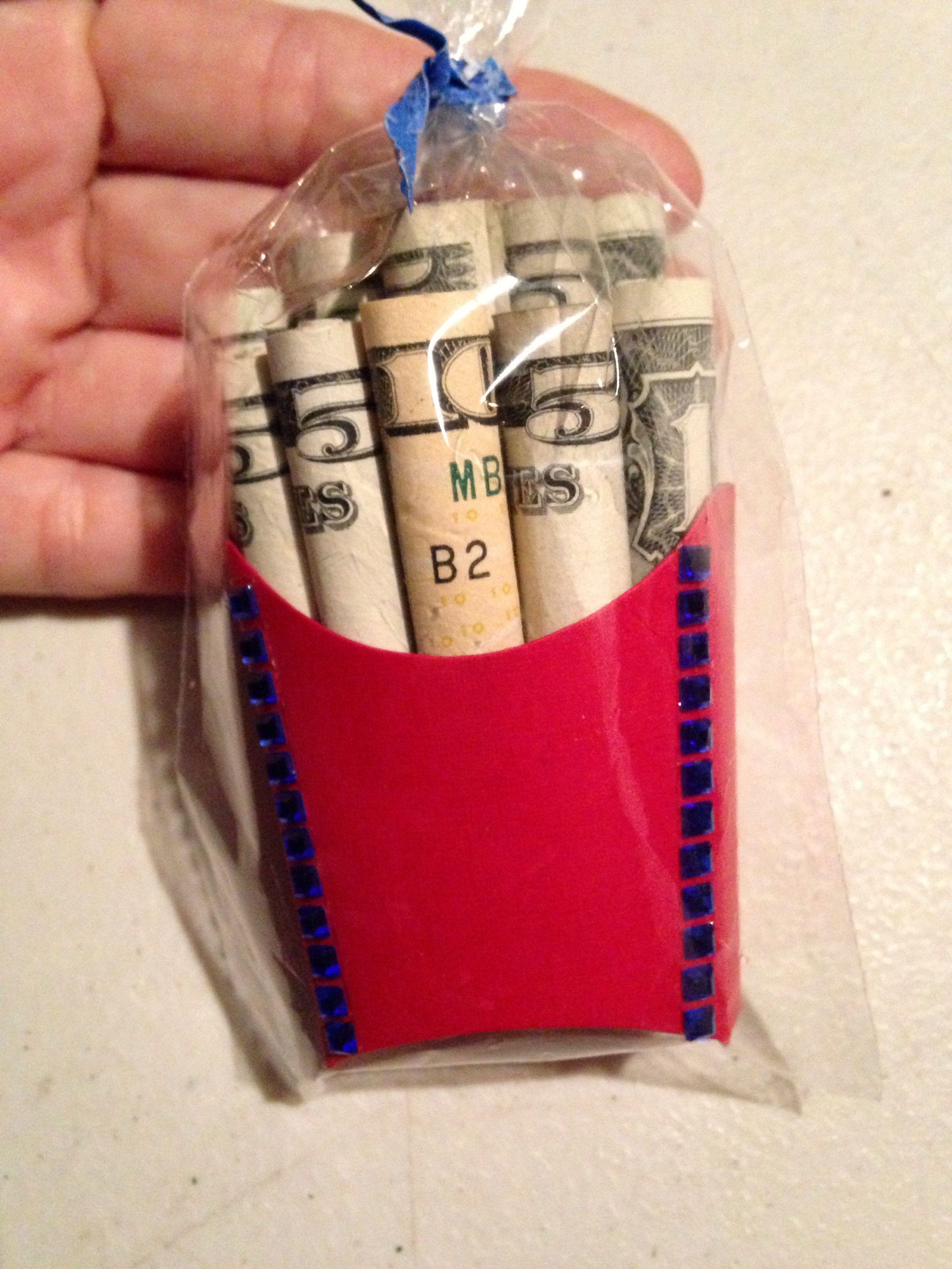 Cool money gift idea! MONEY FRIES! Ha'aheo Fish Baby