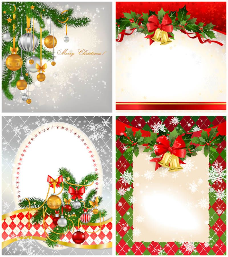 2012 Christmas card templates vector. Set of 4 beautiful