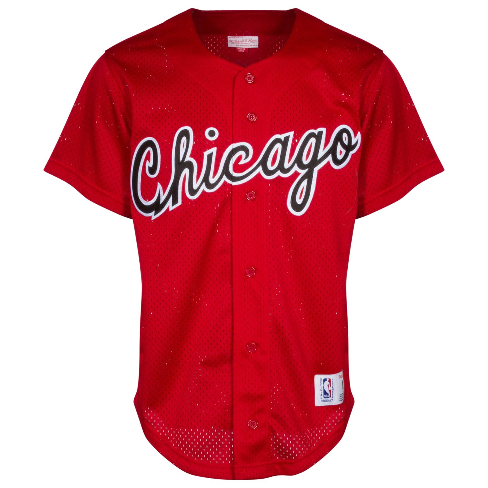 Chicago Bulls Men's Red ButtonUp Baseball Jersey by