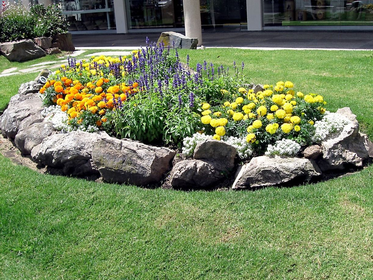 Flower Bed with Rock Contour Correct Flower Beds for