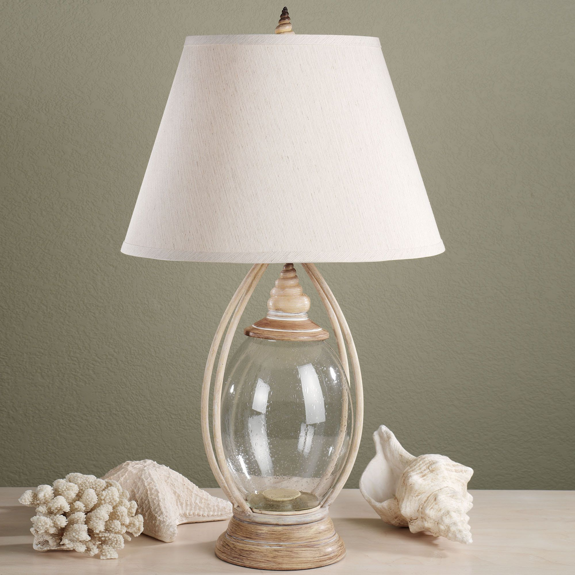 sea treasures fillable glass table lamp | glass table lamps, glass