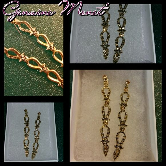 Monet Chandelier Earrings Hallmarked Vintage Old New Stock Come Bo Dainty But Bold
