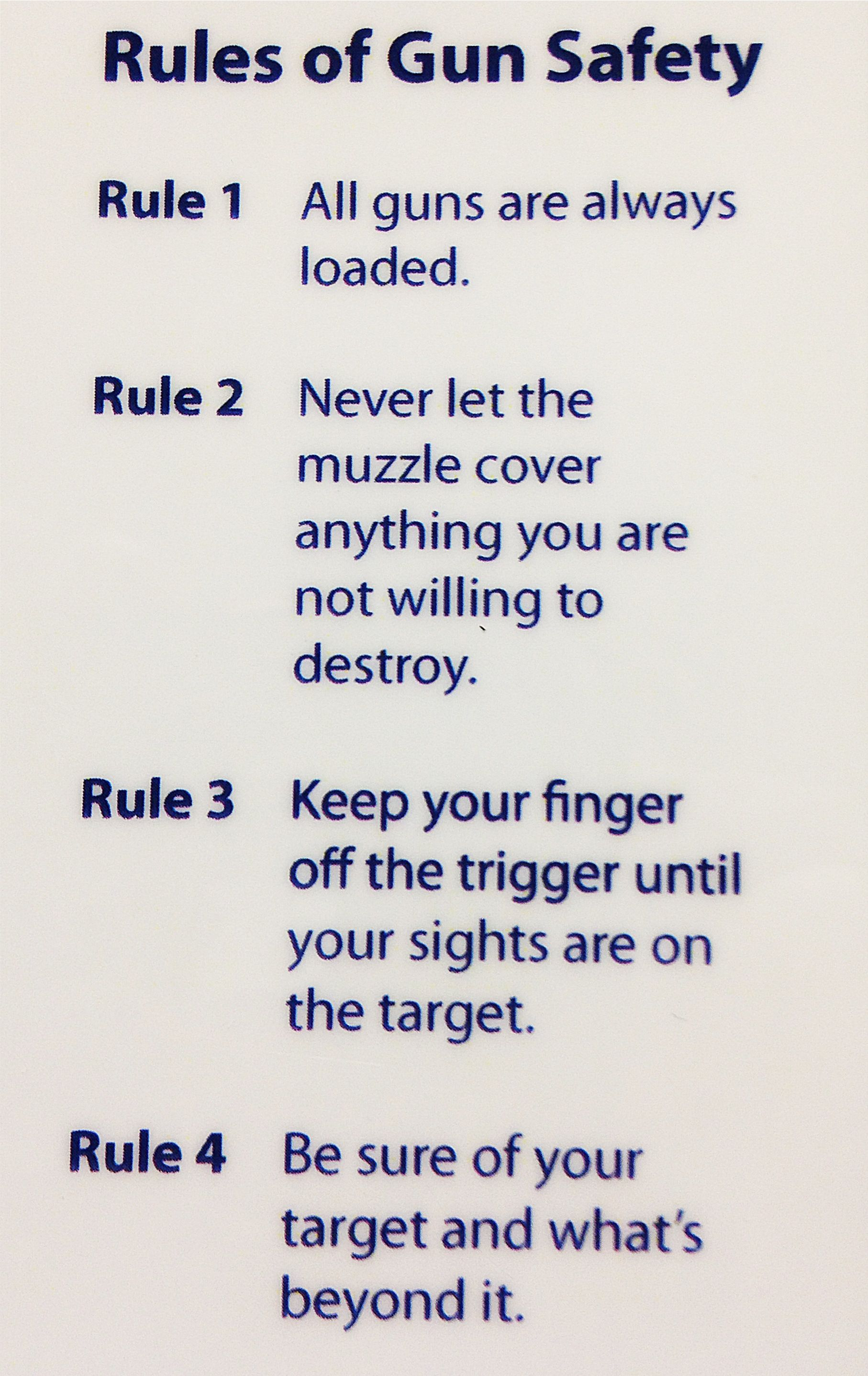 Core Rules of Gun Safety 2nd amendment rights