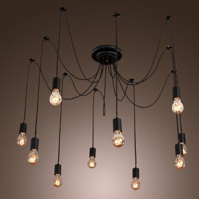 Iegeek Fuloon 10 Lights Vintage Edison Lamp Shade Multiple Adjule Diy Ceiling Spider Pendent