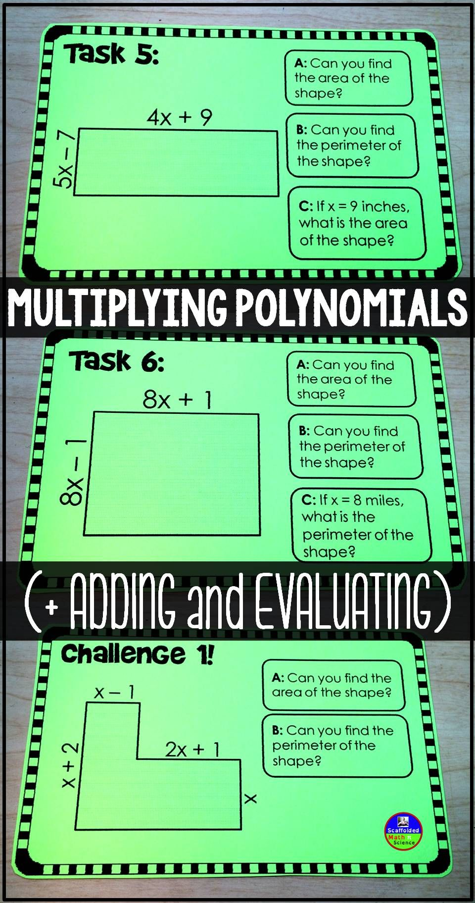 Multiplying Polynomials Task Cards Activities, Students